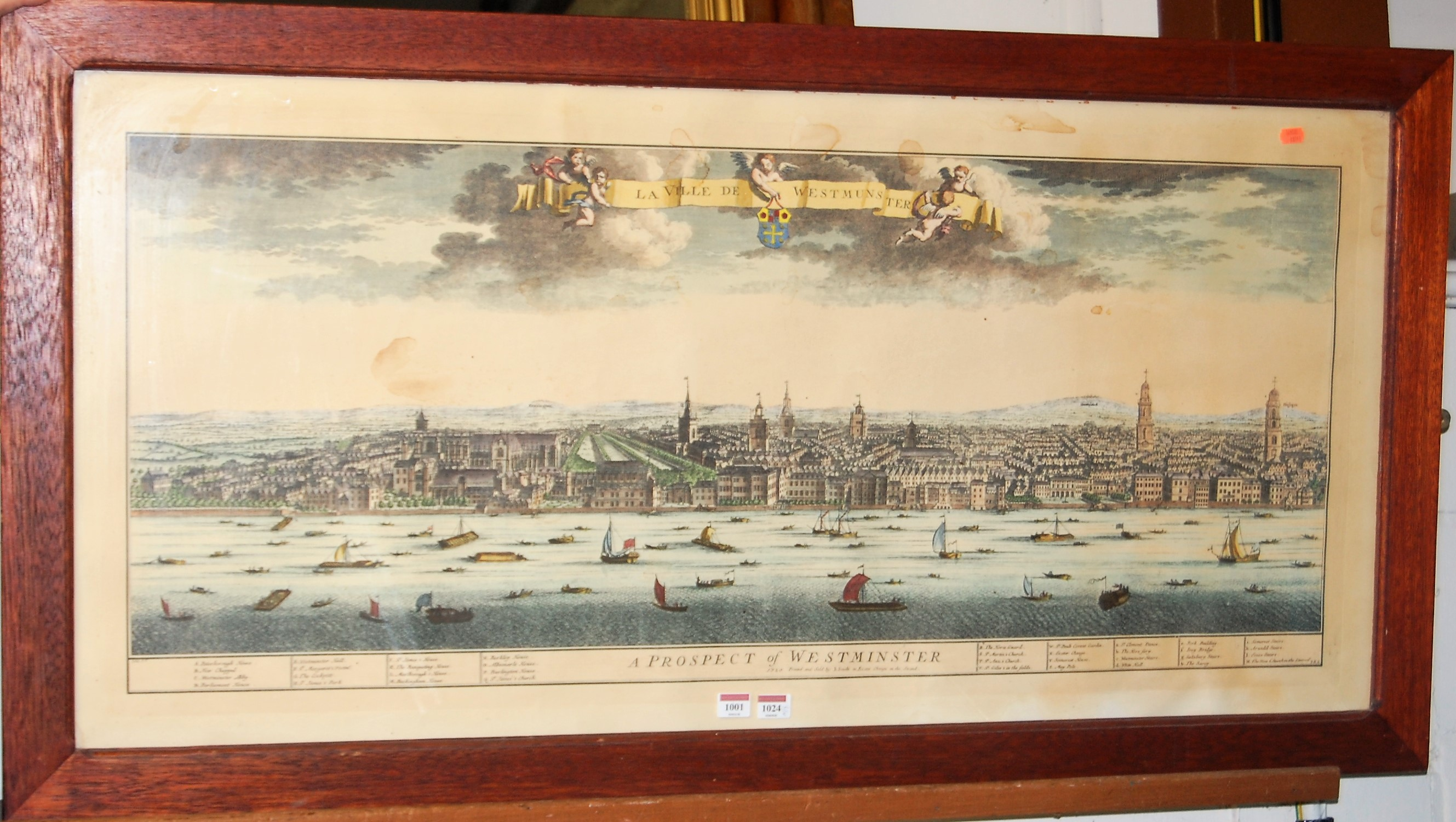 Lot 1001 - A Prospect of Westminster, reproduction topographical engraving, 52 x 115cm