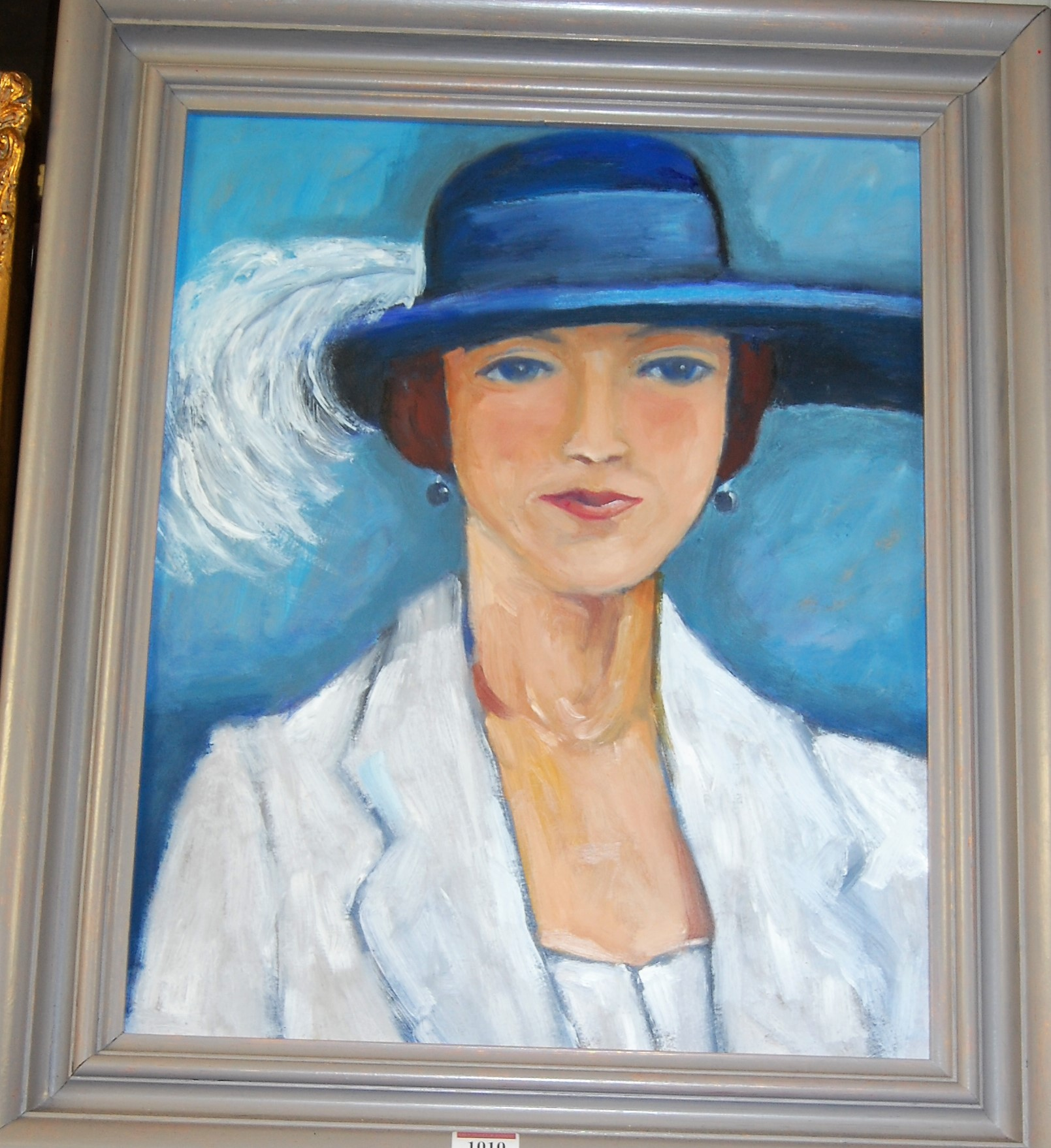 Lot 1010 - 20th century French school - The blue hat, oil on board, 48 x 38cm