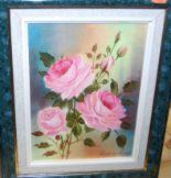 Lot 1038 - Pierre de Villiers - Roses, acrylic on canvas, 27 x 19cm; and J.A. Long - Footpath through Cavendish