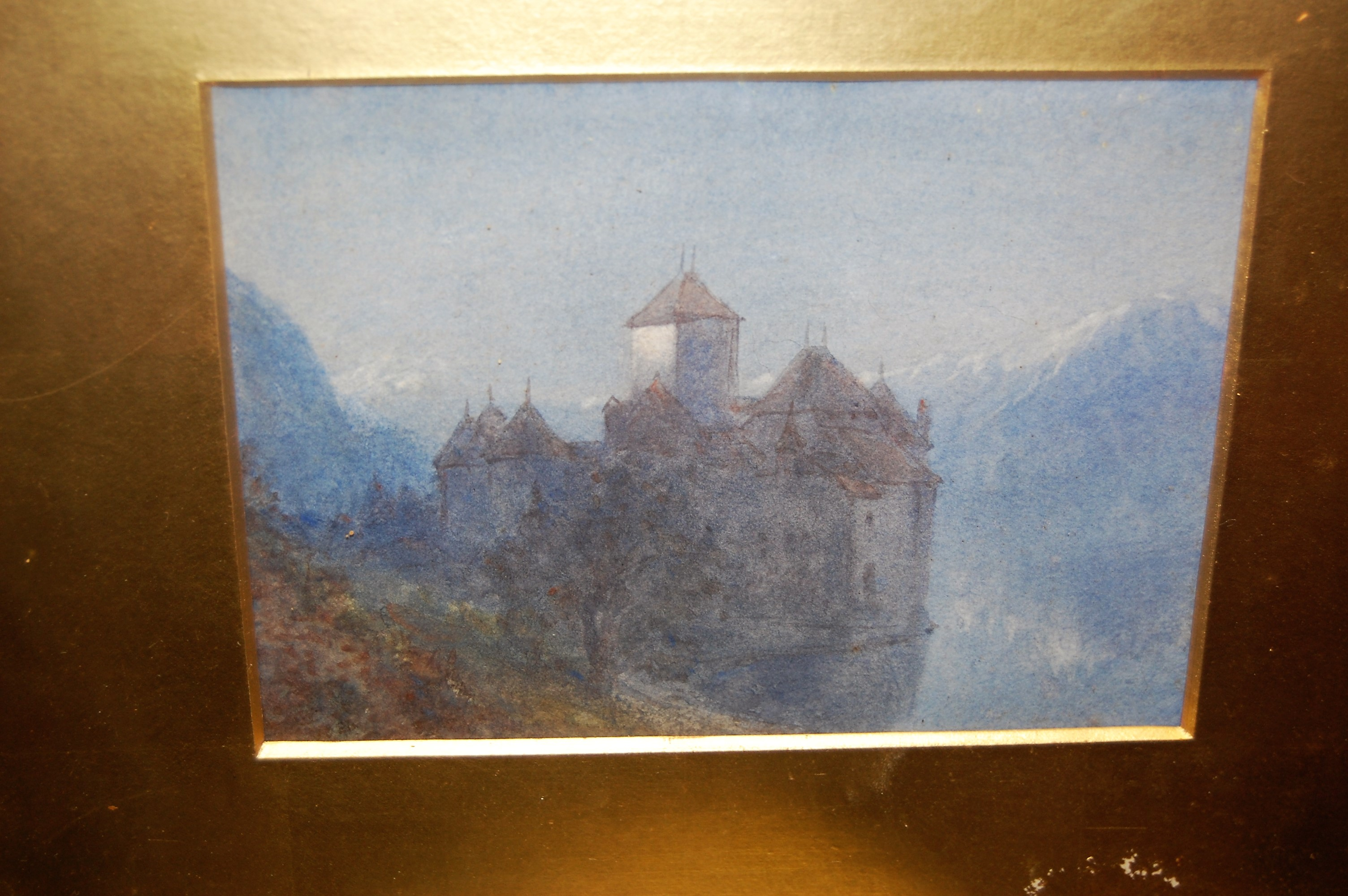 Lot 1045 - W. Collingwood - Moonlit castle, watercolour, 13 x 18cm; and a faux mahogany framed oval wall mirror