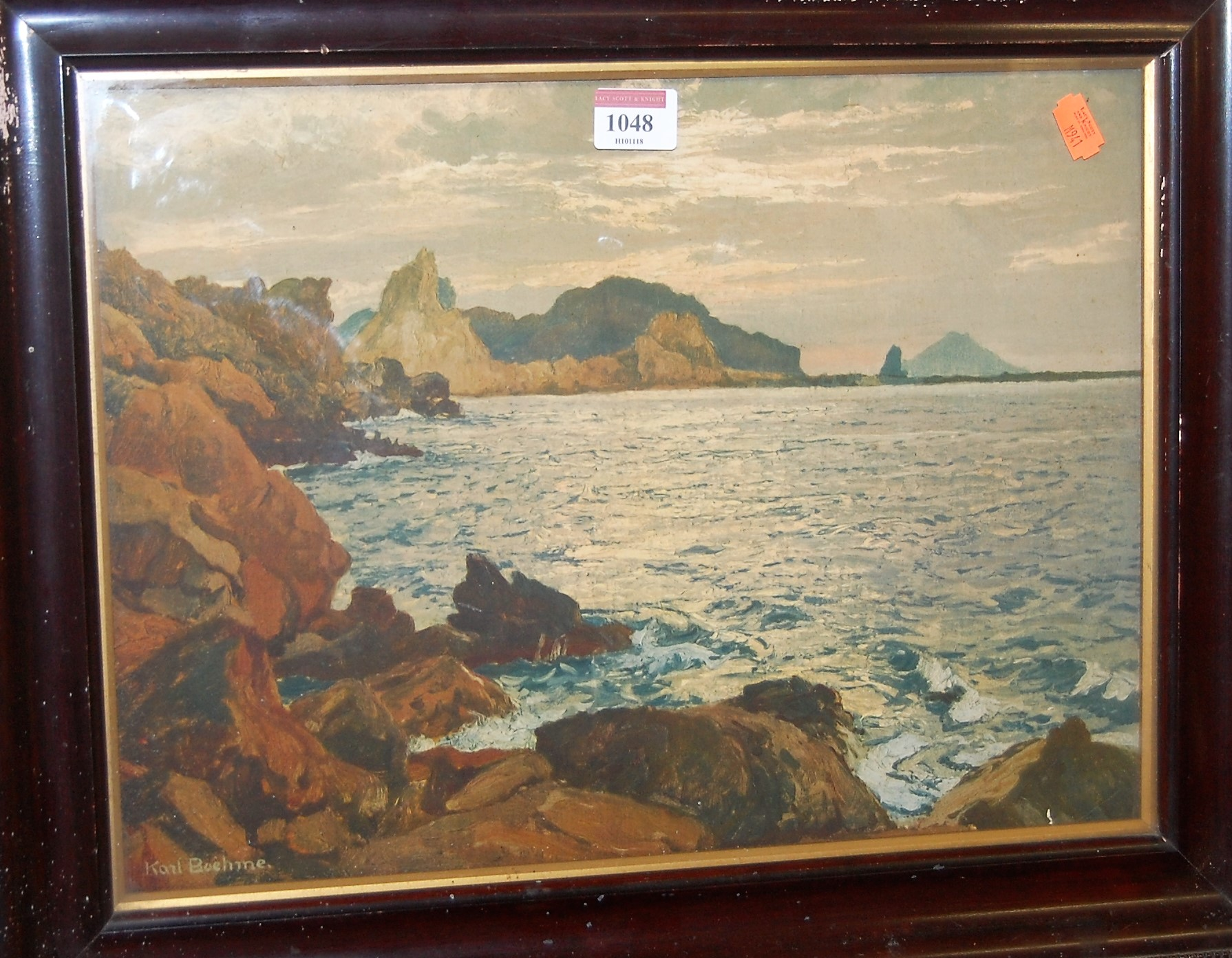 Lot 1048 - Carl Boehme - Coastal scene, print