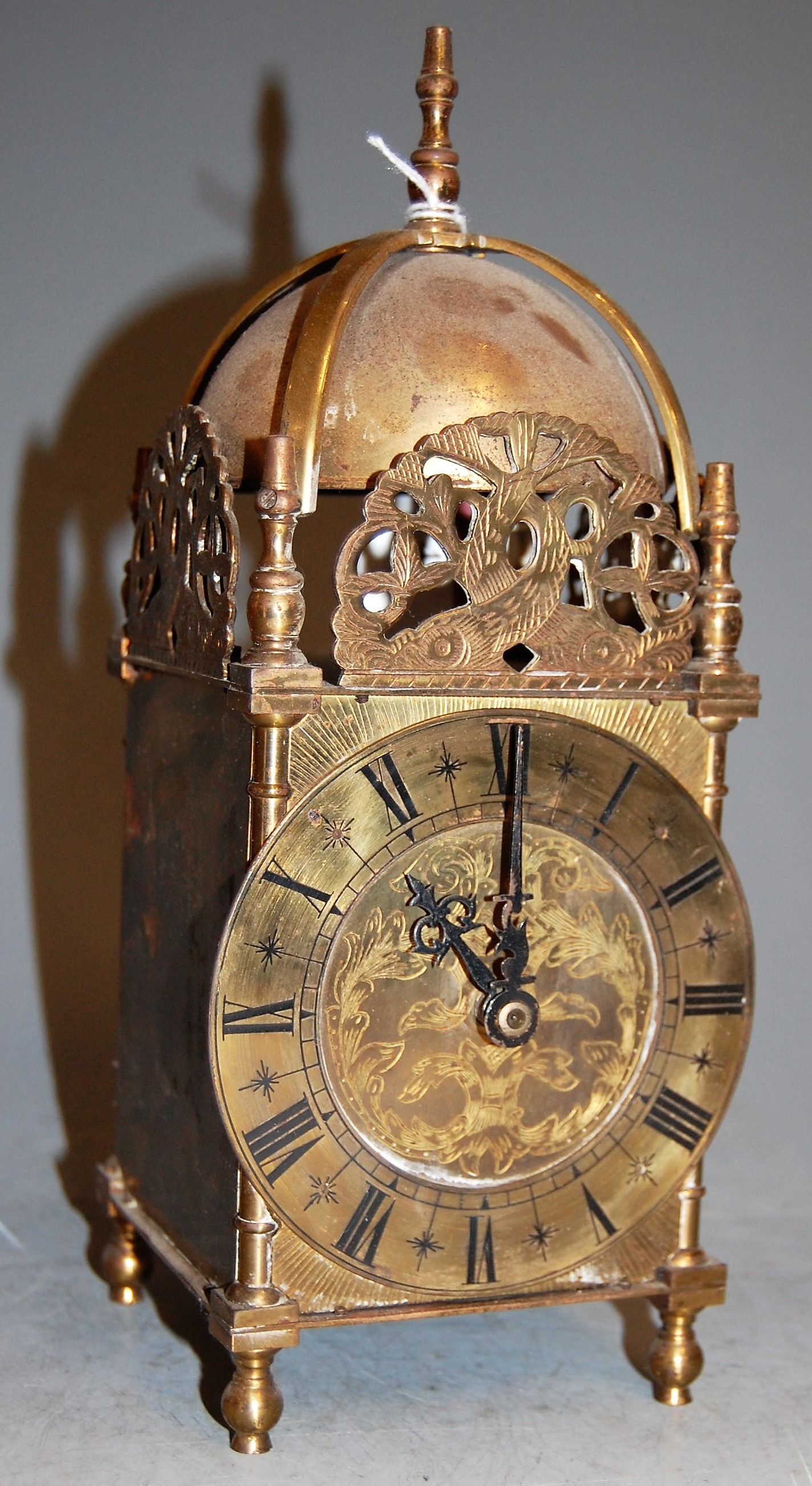 Lot 43 - A brass lantern clock in the 17th century style, h.26cm