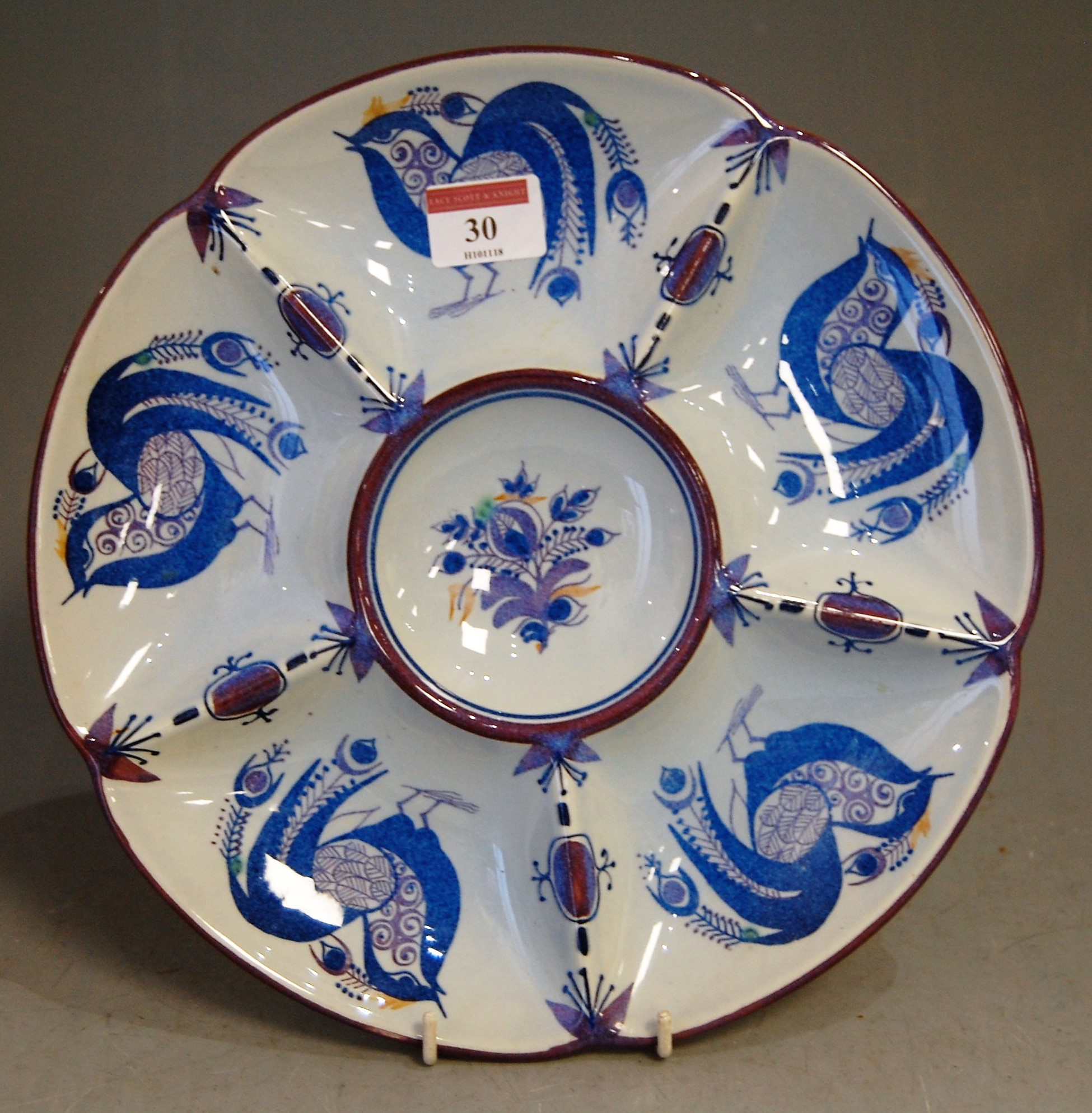Lot 30 - A Royal Copenhagen faience pottery hors d'oeuvres dish, having printed mark verso and numbered 218/