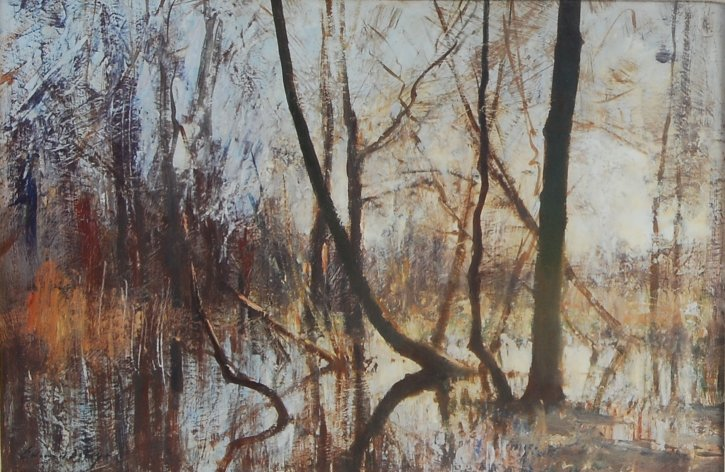 Edward Seago RWS (1910-1974) - The Flooded Fen, Norfolk, oil on board, gallery label verso for P&D