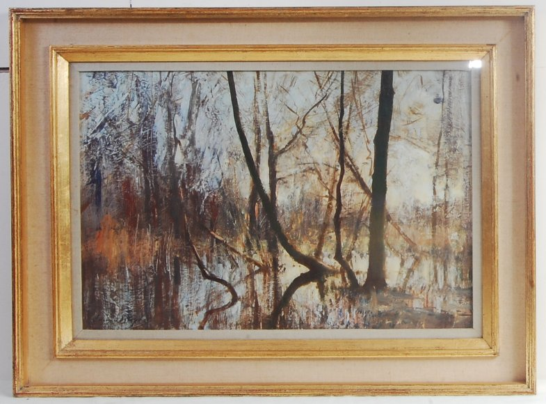 Edward Seago RWS (1910-1974) - The Flooded Fen, Norfolk, oil on board, gallery label verso for P&D - Image 4 of 4