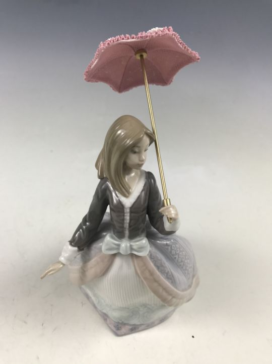 A Lladro Figurine Angela 5211 Girl With Parasol Retired