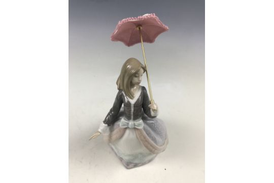 A Lladro Figurine Angela 5211 Girl With Parasol Retired