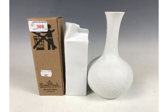 A Rosenthal Do Not Litter Collection White Bisque Vase Modelled As A