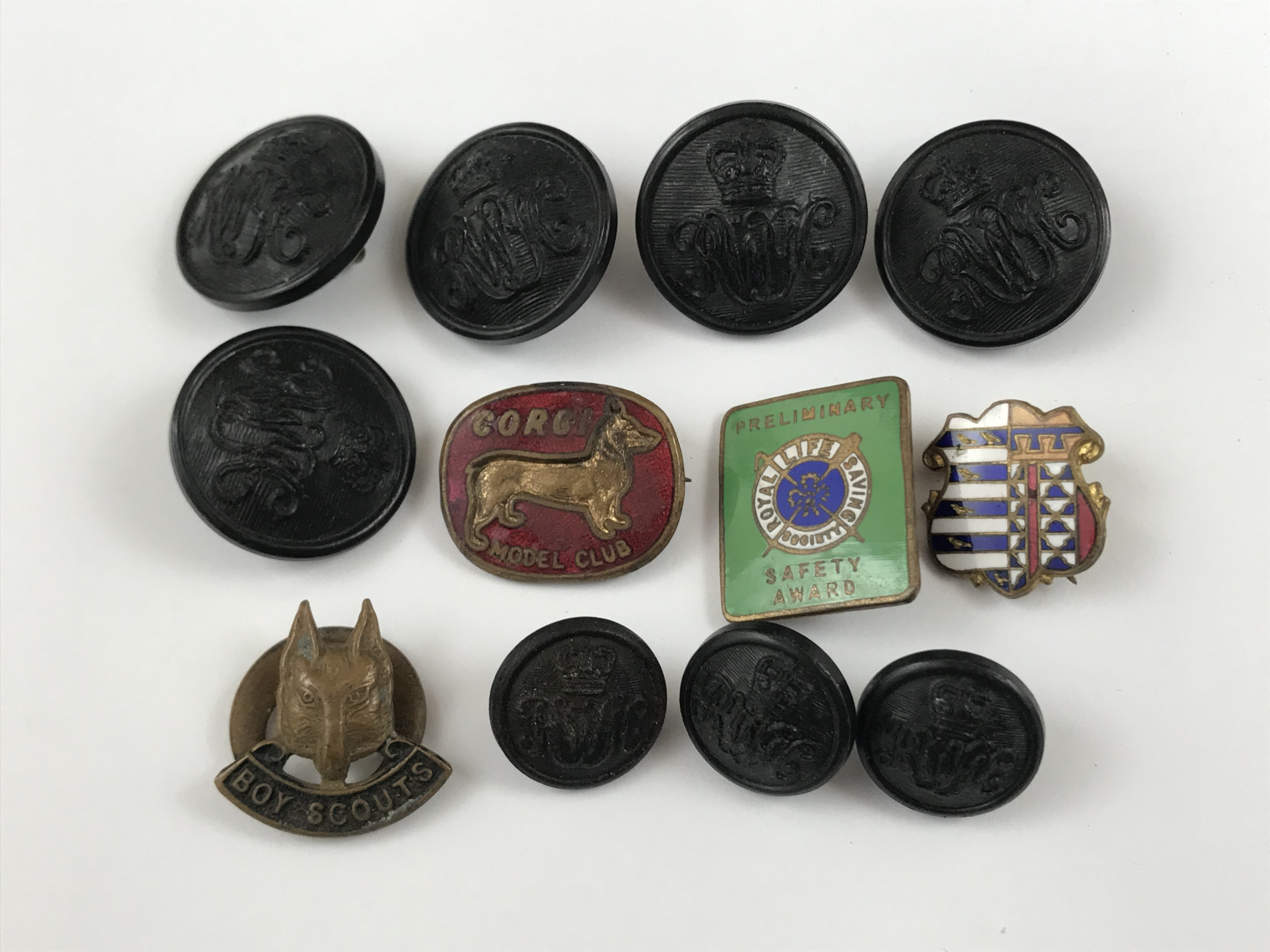 Lot 45 - Corgi Model Club, Boy Scouts and other lapel badges and buttons