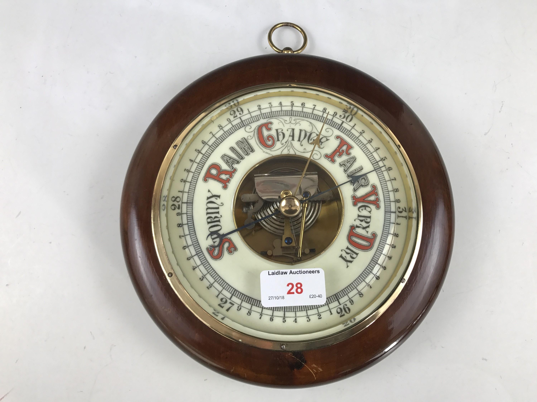Lot 28 - A Victorian mahogany wheel barometer, 9 inch diameter