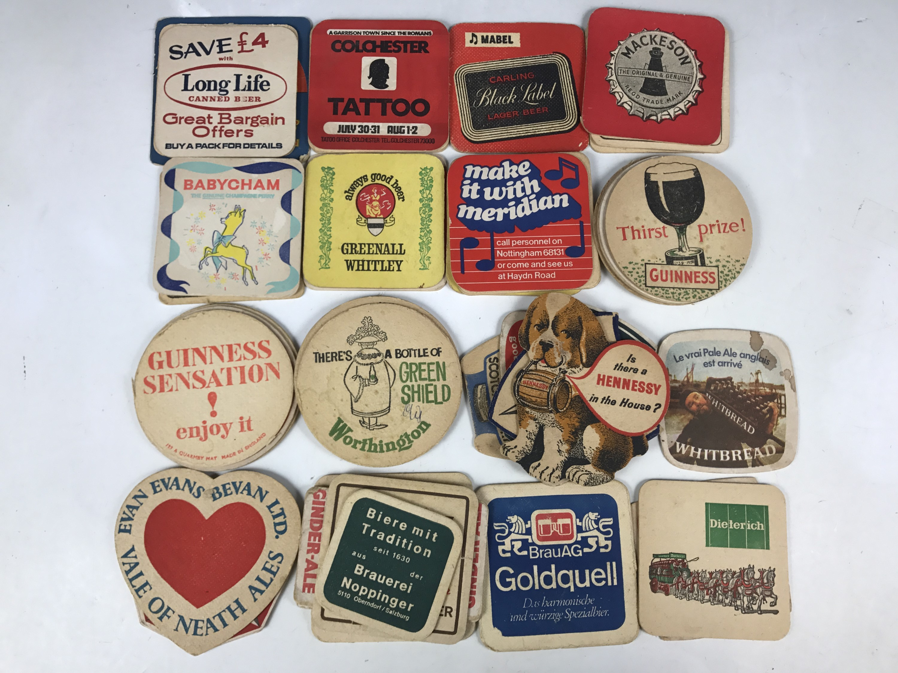 Lot 47 - Sundry beer mats including Guinness, Worthington and Hennesy etc