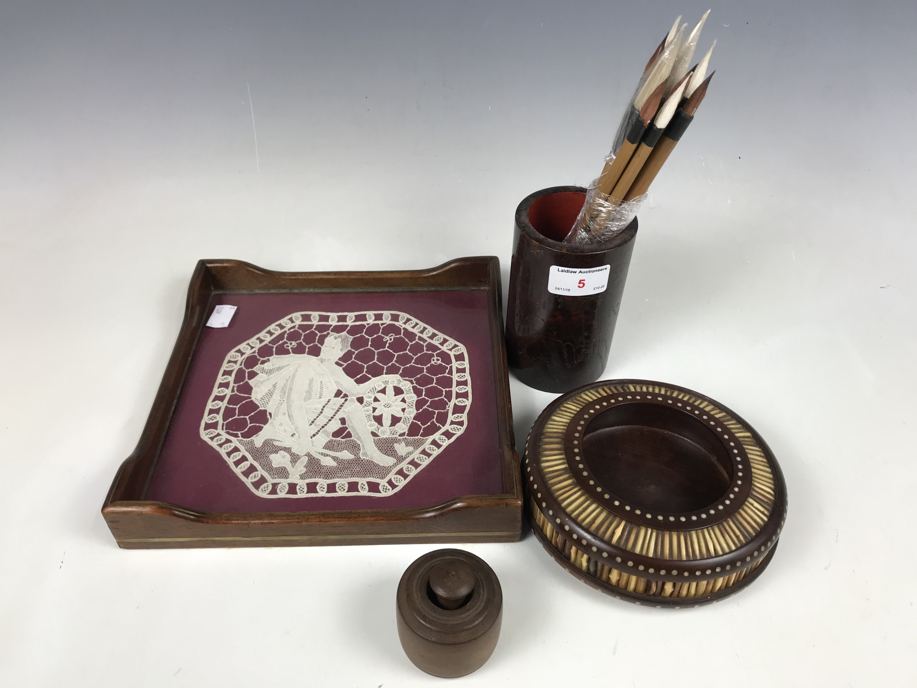 Lot 5 - A quill box together with a small tray and butter stamp etc