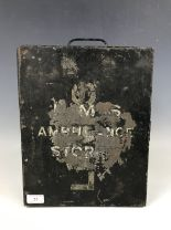 Lot 35 - An LMS ambulance stores tin trunk