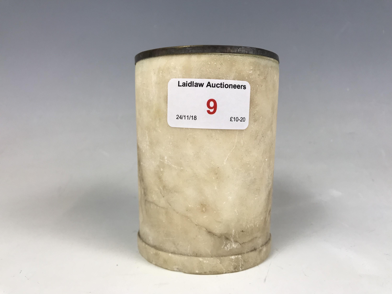 Lot 9 - A turned alabaster spill vase