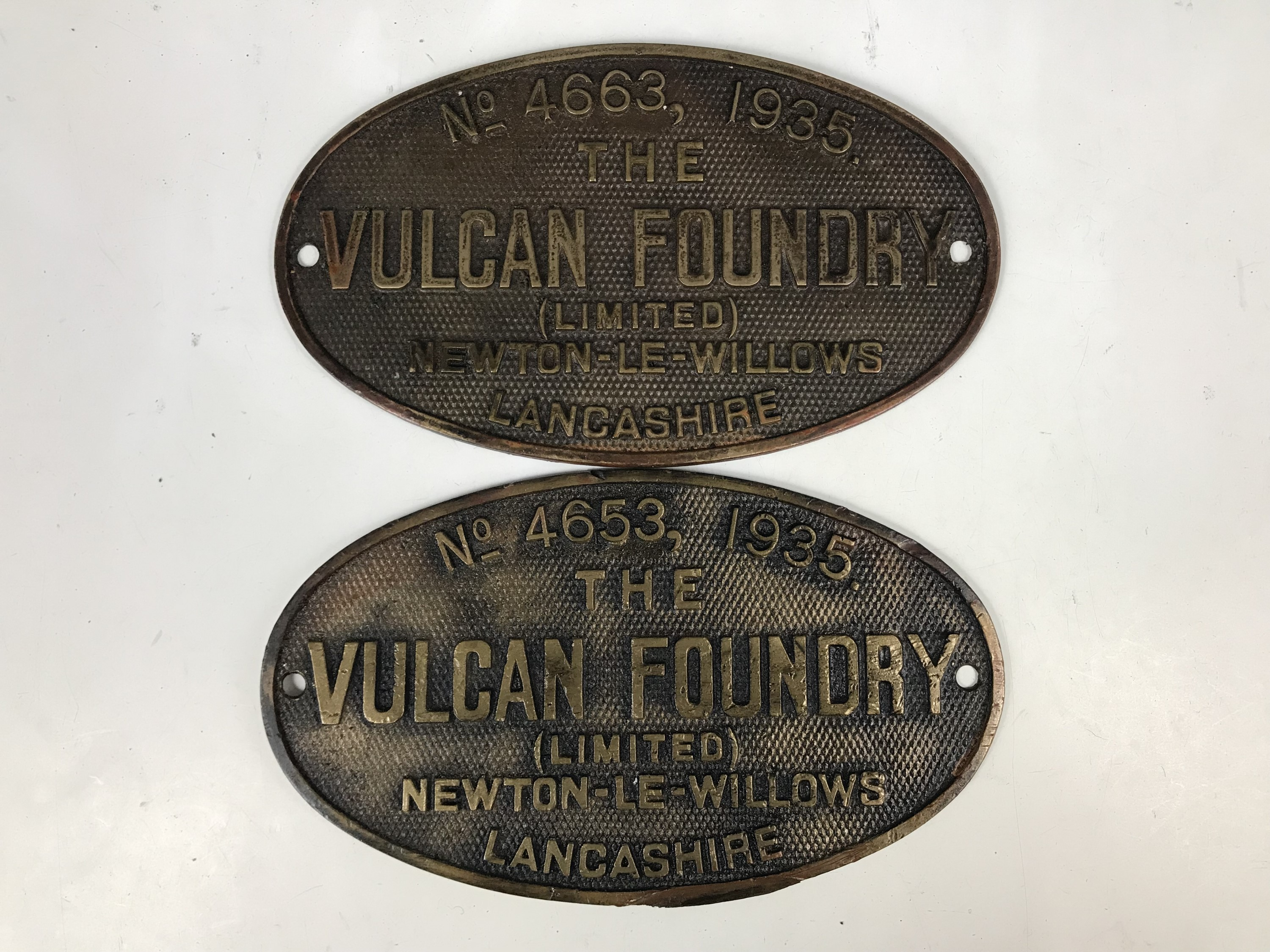 Lot 37 - Sundry railway locomotive builder / shed plates by the Vulcan Foundry including No. 4653, 1935,