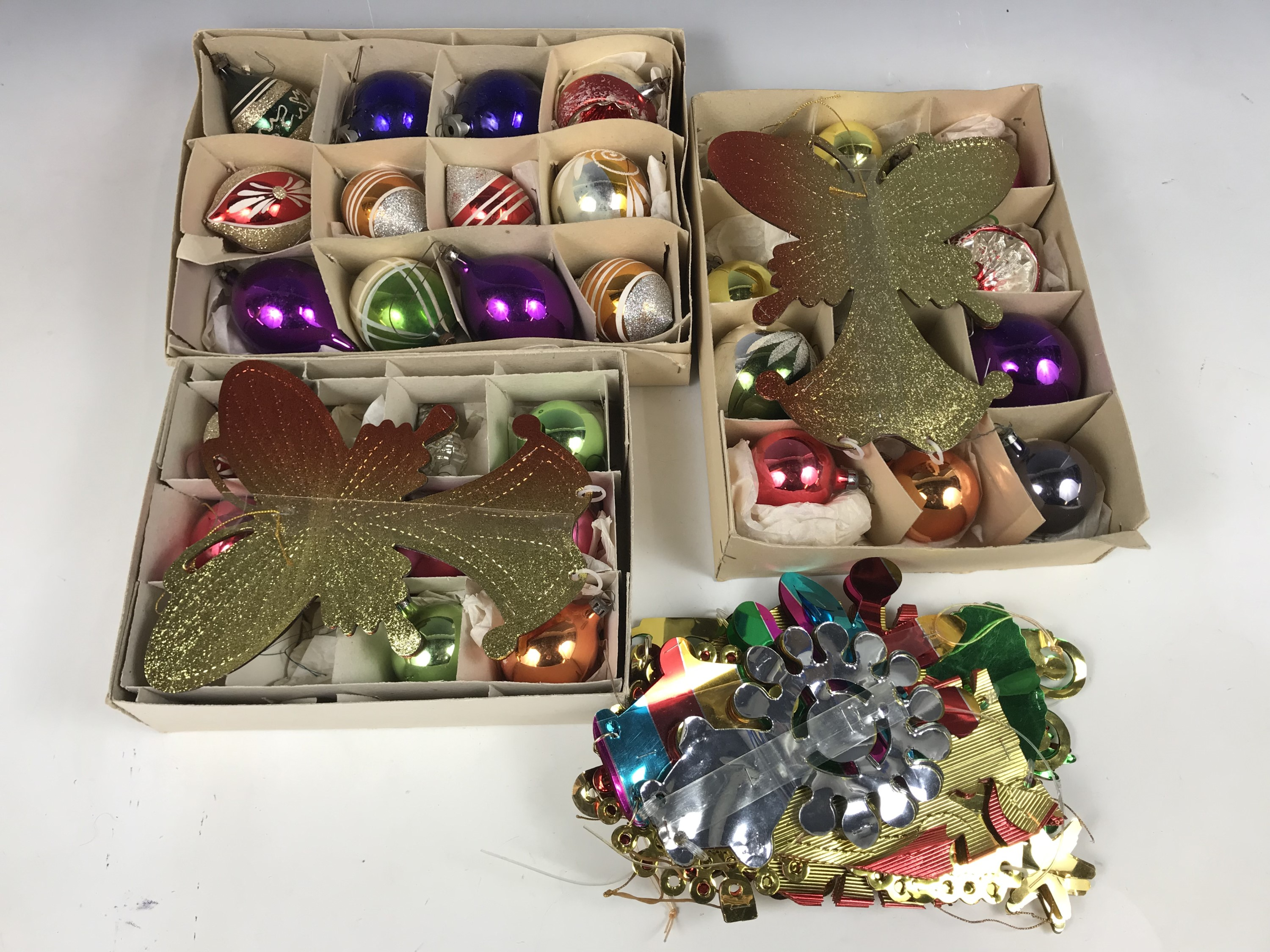 Lot 1 - Three boxes of vintage Christmas baubles etc