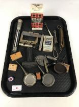 Lot 45 - Sundry collectors' items including three small oil cans, an ARP whistle and a silver cocktail fork
