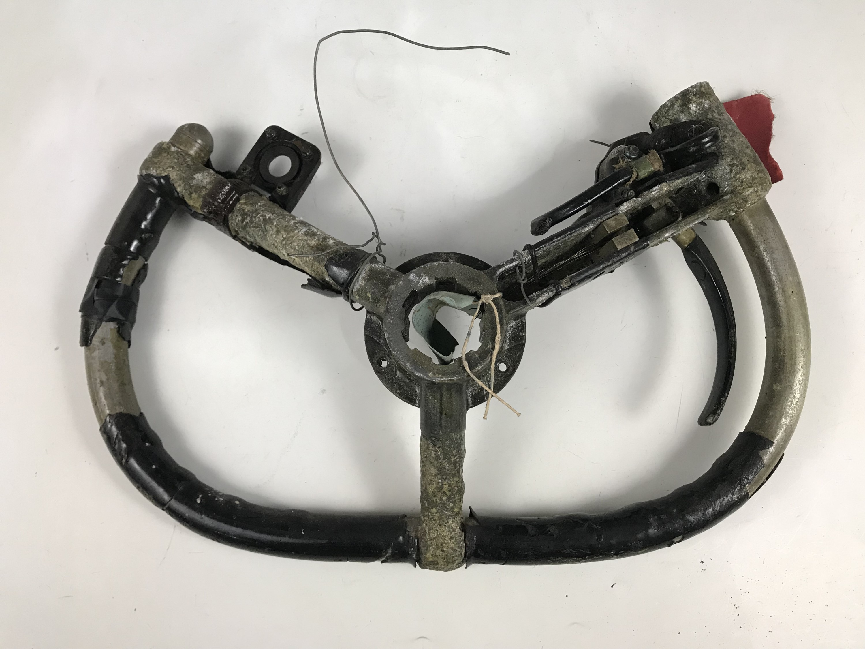 Lot 650 - An RAF Lancaster bomber control wheel
