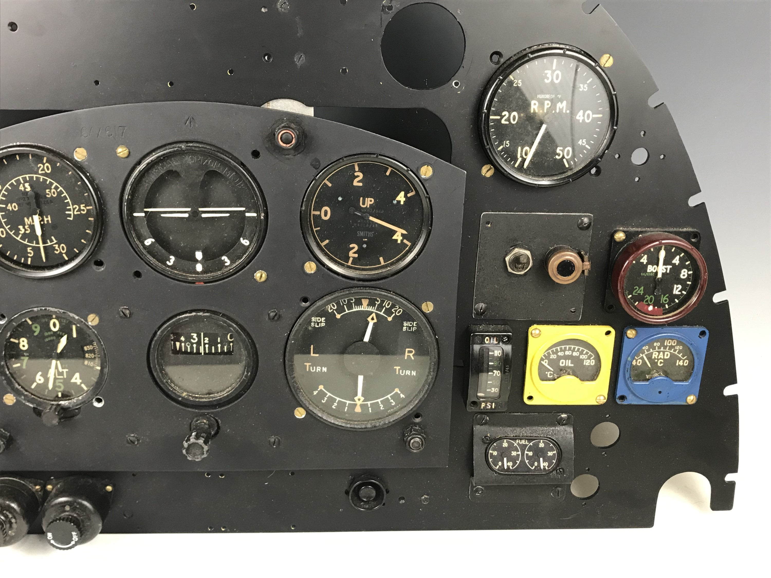 Lot 669 - A partial recreation of a Spitfire cockpit instrument panel using period instruments