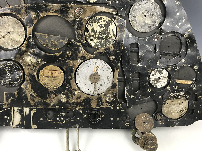 Lot 680 - A relic RAF Spitfire cockpit instrument panel with provenance