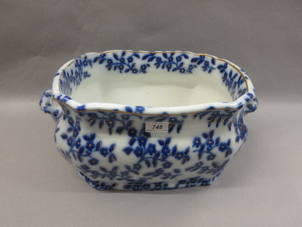 Victorian blue and white transfer printed pottery foot bath (at ...