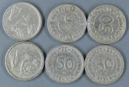 """BRD 1949, 6 x 50 Pfennig - Münzen """"Bank deutscher Länder"""". 2 x 1949 D (München), 3 x 1949 F ("""