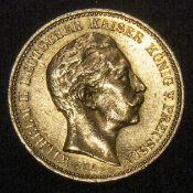 20 Mark Goldmünze, Preußen 1897, Erhaltung: sehr schön. Katalog Jäger 409