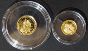 """Liberia 2002/2005, 2 x """"Die kleinsten Goldmünzen der Welt"""": 1 x 2002 25 Dollar """"Gutenberg"""", Gold"""