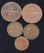 Lot von 5 Münzen, Sachsen 1862 - 1868
