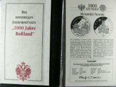 """Gedenk - Münzen - Sammlung """"1000 Jahre Rußland"""". 21 Münzen dabei 4 x 1 oz Silber - Münzen mit den"""