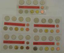 BRD Kursmünzsatz, 1997 A-J, 1 Pfennig - 5 DM, eingeschweißt BRD course coin set, 1997 A-J, 1 Pfennig