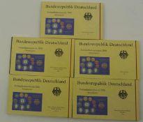 BRD Kursmünzsätze, 2001 A-J, in polierter Platte. 1 Pfennig - 5 DM BRD course coin sets, 2001 A-J,