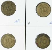"""BRD 1949 D, F, G, J, 4 x 10 Pfennig - Münzen """"Bank Deutscher Länder"""". Erhaltung: vz."""