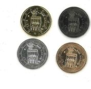 Prestigsatz San Marino 2012 mit 4x2 Euro B: Metall verziert mit Rotgold, Gelbgold, Ruthenium und