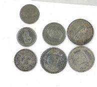 kleines Lot Schweizer Münzen dabei 3x 5 Franken 3x 1932. 2x 2 Franken 1x 1913 + 1x 1999. sowie 2x