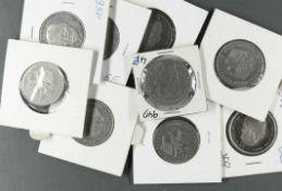 """BRD 1994 - 2001, 9 x 2.- DM - Münzen """"Willy Brandt"""". Jaeger: 459. Erhaltung: stgl."""