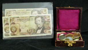 kleines Lot Österreich Schillinge.Über 180 Schilling, dabei auch 3x 20 Schilling Banknote 1967.
