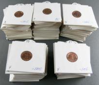 BRD 1948 - 95, Sammlung 1 Pfennig - Münzen jeweils aller Prägeanstalten (bis 1990: D, F, G, J. Ab