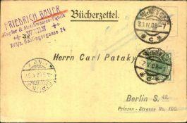 Bücherzettel - Bestellung eines Kupferschmied-Kalenders durch Friedrich Bauer, Kupfer- und
