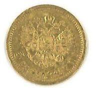 """5 Rubel Goldmünze 1897, """"Nikolaus II"""", SS-VZ"""