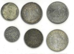 kleines Lot Münzen, dabei Silber, z.Bsp. 1 Dollar 1889, 1 Dollar 1921, 3 Mark Hamburg 1909, etc.