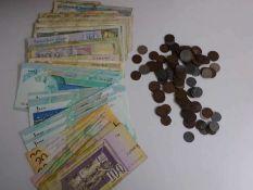 Lot Geldscheine und Münzen, dabei z.B. Mazedonien, Iran, etc., sowie Münzen Deutsches Reich. Bitte
