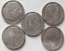 """Deutsches Reich 1935/36, Lot 5.- Mark - Silbermünzen """"Hindenburg"""", bestehend aus 3 x 1935 A, E, F"""