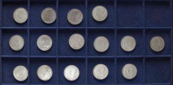 """Deutsches Reich 1937/39, Lot 2.- Mark - Silbermünzen """"Hindenburg"""", bestehend aus 4 x 1937 A, D, F,"""