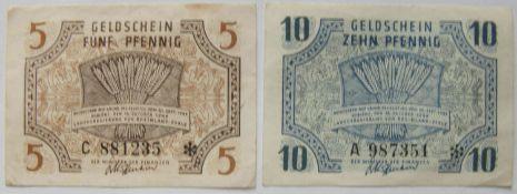 Alliierte Besetzung franz. Zone 1947, FBZ 4, 5 Pfennig II, wenig gebraucht und FBZ 5, 10 Pfennig,