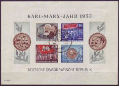 DDR 1953, Block 9 B. Karl Marx. Gestempelt.GDR 1953, block 9 B. Karl Marx. Stamped.