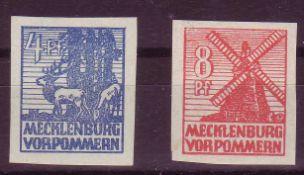 SBZ Mecklenburg - Vorpommern 1946, Mi. - Nr. 30 x und 34 x. ** .SBZ Mecklenburg - Vorpommern 1946,