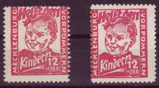 SBZ Mecklenburg - Vorpommern 1945, Mi. - Nr. 28 a+b. 28 b geprüft Zierer. ** .SBZ Mecklenburg -