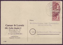 SBZ 1948, Mi. - Nr. 956 als MeF auf Postkarte.SBZ 1948, Michel - No. 956 as multiple franking on