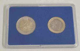 Monaco 2002, 1 und 2 Euro Münze im Original Blister von 2002Monaco 2002, 1 and 2 Euro coin in